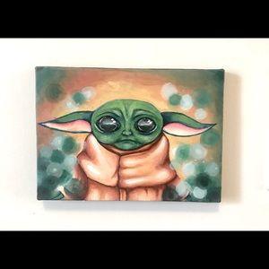 Small acrylic on canvas baby yoda painting